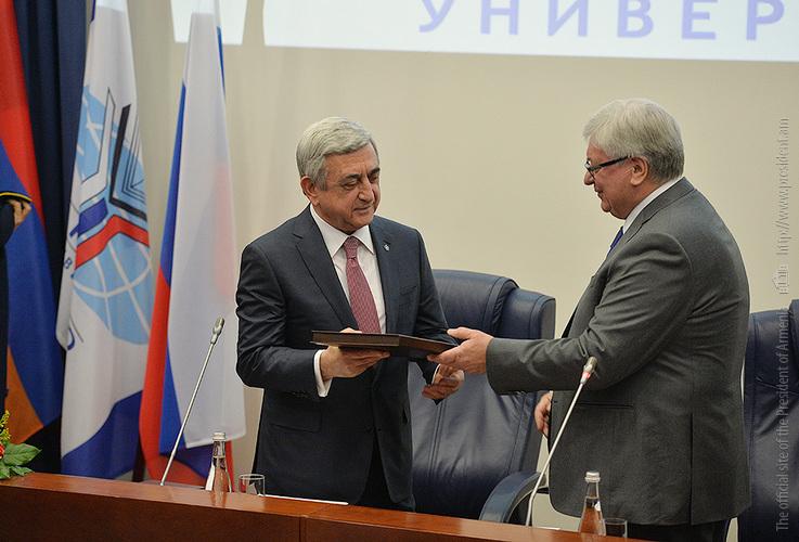 Ректор МГИМО наградил С. Саргсяна: Армения – один из важнейших партнеров России не только на постсоветском пространстве, но и во всем мире