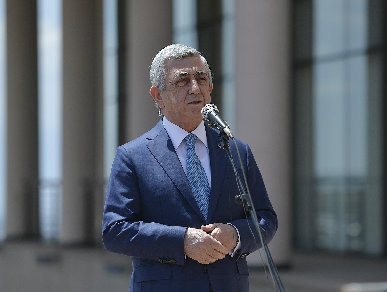 President Serzh Sargsyan Attends Charles Aznavour House