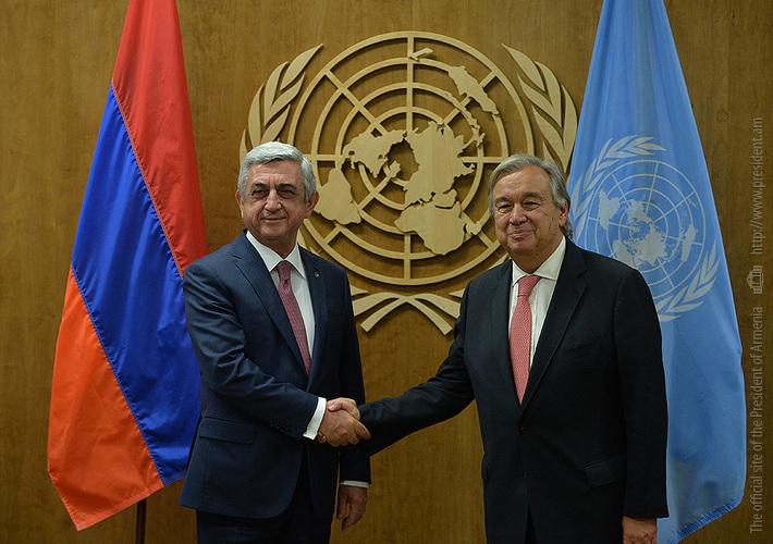 Президент Армении и генсек ООН обсудили процесс карабахского урегулирования