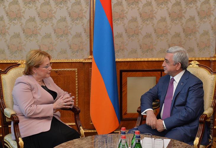 Скворцова представила президенту Сержу Саргсяну новые направления сотрудничества с Арменией