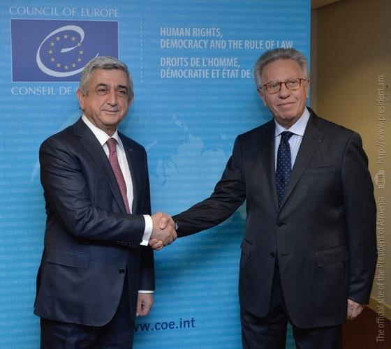 Президент Армении встретился с главой Венецианской комиссии Дж. Букиккио и председателем Евросуда Г. Раймонди