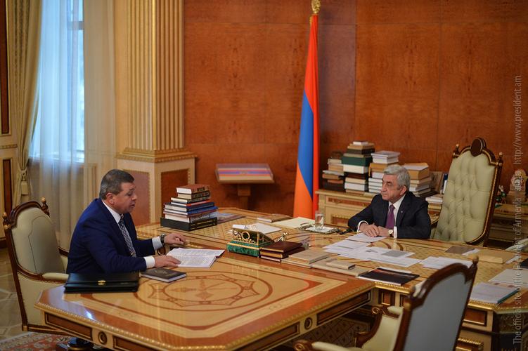 Владимир Гаспарян отчитался перед Сержем Саргсяном об оперативно-служебной деятельности правоохранительных органов