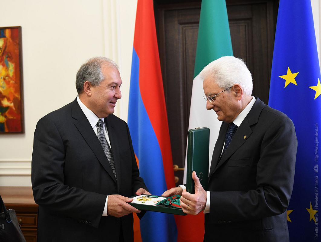 Президент Армении Армен Саркисян удостоился высшей награды Италии