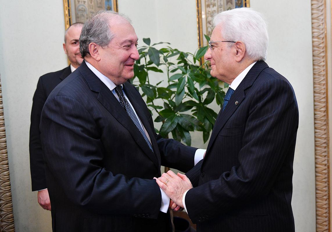 Президенты Армении и Италии обсудили укрепление двусторонних связей