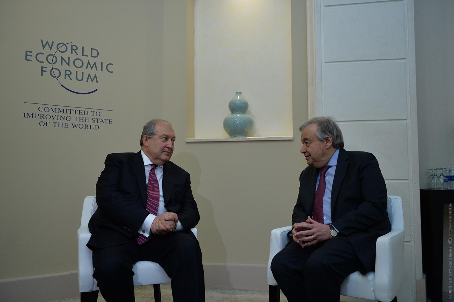 Президент Армении Армен Саркисян встретился с Генсеком ООН Антониу Гуттеришем