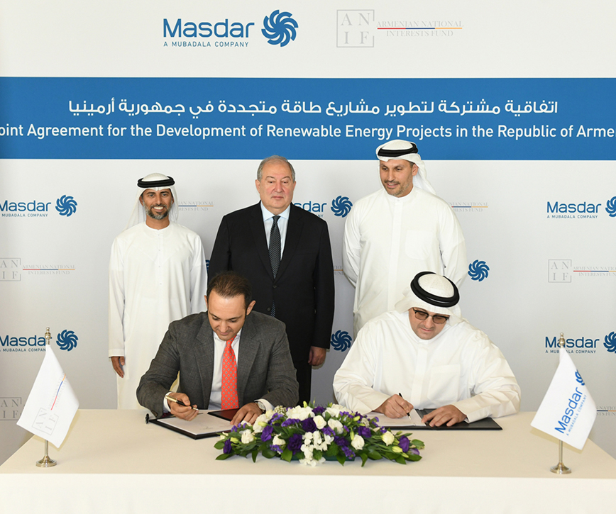 Agreement on joint development between Armenia's State Interests Fund and Masdar company
