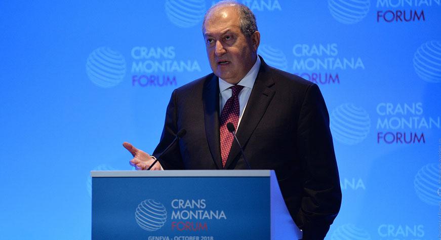 Президент выступил на форуме Crans Montana