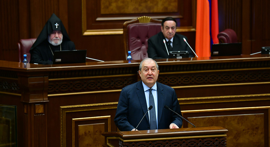 President Armen Sarkissian's message during the first session of the National Assembly of the Republic of Armenia of the seventh convocation